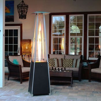Golden Flame Resort Model 40,000 BTU Glass Tube Pyramid Style Flame Patio  Heater In Matte Black