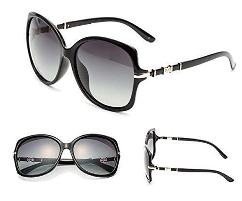 Polarizadas Sol Dama De glasses Negra Carácter Moda Sun Gafas Grande Caja zqFO0S
