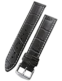 Hirsch Modena Black Alligator Embossed Leather Watch Strap 103028-50-22