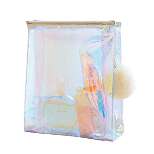 Gabrine Womens Clear Transparent Hologram Cosmetic Bag Handbag Clutch Bag Makeup Travel Wash Bag with a Plush Ball(Clear) by Gabrine