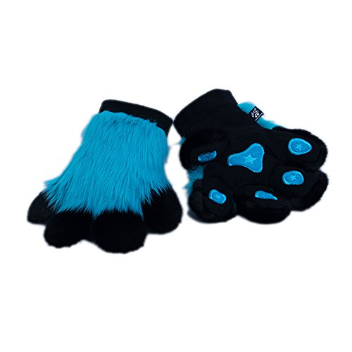 Pawstar Paw Mitts Furry Animal Hand Paws Costume Gloves Adults - Turquoise]()