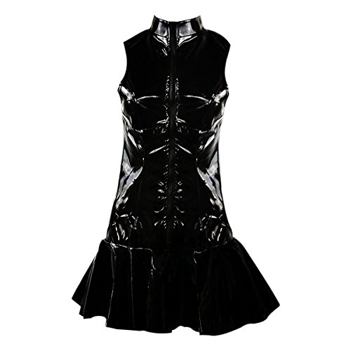 Sasairy Sexy PVC Latex Fetish Sleeveless Mini Dress Glossy Cosplay Party Clubwear Skirt Round Neck Dresses Black Fetish Skirt