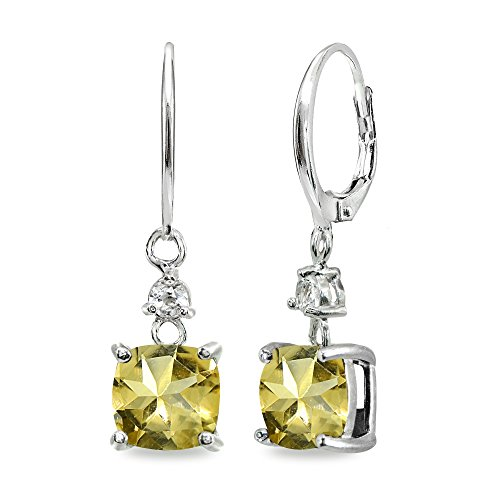 Sterling Silver Citrine & White Topaz 7mm Cushion-cut Dangle Leverback Earrings ()