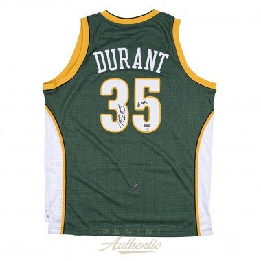 (KEVIN DURANT Autographed Green Supersonics Swingman Jersey with