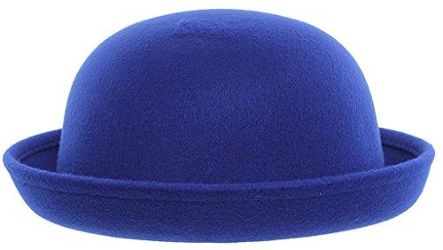 EOZY Girls Wool Felt Roll Brim Bowler Derby Hats Billycock Cloche 21
