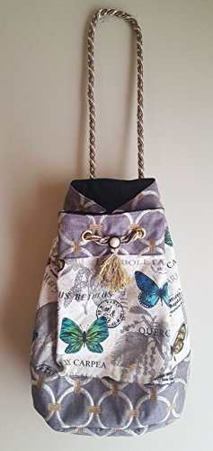 Butterfly and Geometric Print Drawstring Shoulder Bag Purse Tote Bag