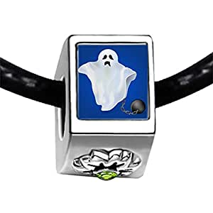 Chicforest Silver Plated angry Halloween ghost Photo Peridot Crystal August Birthstone Flower Charm Beads Fits Pandora Bracelet