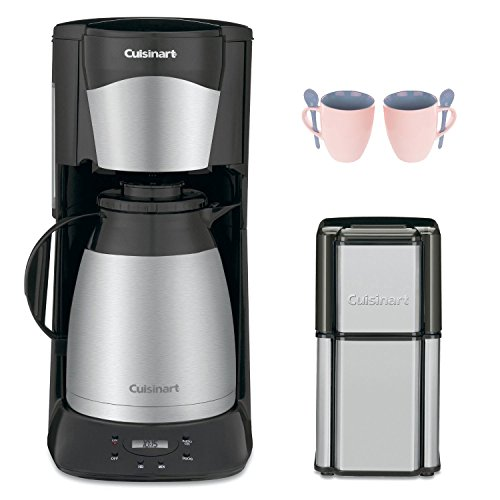 Cuisinart DTC975BKN 12 Cup Programable Thermal Coffeemaker Black (New) with Grind Central Coffee Grinder (Refurbished) and 2-Piece 10 oz. ARC Handy Glass Coffee Mug