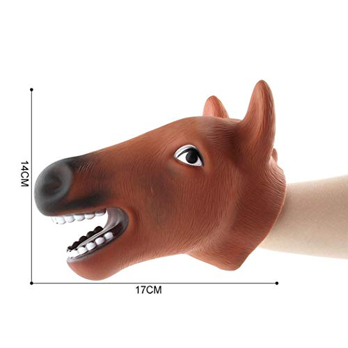 Pagacat Kids Children Halloween Soft Rubber Animal Head Shape Hand Puppet Toys Plush Figures (Horse)