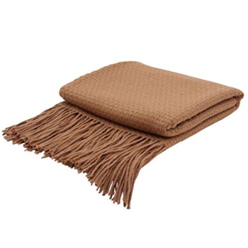 uxcell Indigo7 Authorized 50/50 Basketweave Cashmere Blend Throw Cinnamon Stick