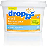 Dropps HE Laundry 4-in-1 Booster Pacs, Scent and Dye Free, 50 Loads