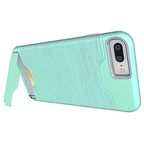 """5.5"""" iPhone 7 Plus Coque, AOFad Case Protection des lourds Béquille Mince vert Plastique Vidéo D'insertion de carte Accessoires Série Pour Femme Homme L239"""