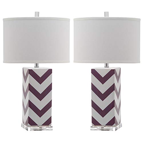 Safavieh Lighting Collection Chevron Stripe Purple 27-inch Table Lamp (Set of 2) Review