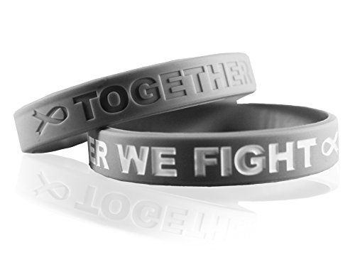 Cancer & Cause Awareness Bracelets with Saying Together WE Fight, Gift for Patients, Survivors, Family and Friends, Set of 2 Ribbon Silicone Rubber Wristbands for All (Brain Cancer Gray) -