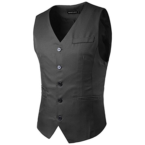 Gray Slim Skinny Fit Casual Mens Dark Dress YFFUSHI Vest Designed Formal Color Solid qn7CYFgR