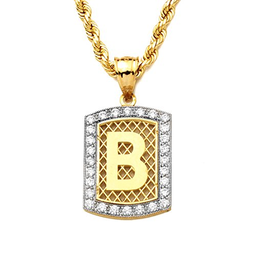 LoveBling 10K Yellow Gold Dog Tag Initials Charm Pendant w/CZ Border (Available from A-Z) (B) ()