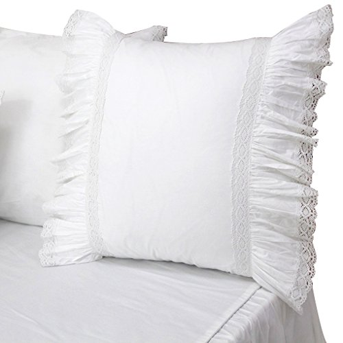 Queen's House Lace Ruffled Euro Shams White Pillow Covers-Style M