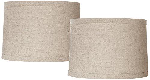 Natural Linen Set of 2 Drum Shades 15x16x11 (Spider)