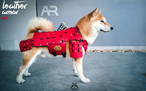 HOT! Made-to-Order Japanese Style Handmade Dog Costumes Samurai Armor for Dog Fashion Cosplay for Medium Dog Made from Genuine Leather (M, Red)]()