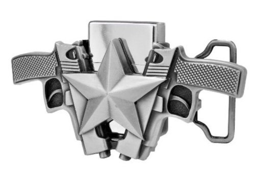 Duo Silver Guns and Star Lighter Belt Buckle (LT-018BR)