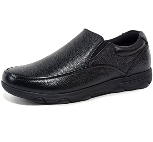 alpine swiss Arbete Arbete Men's Leather Slip-On Work Shoes, Black, 9