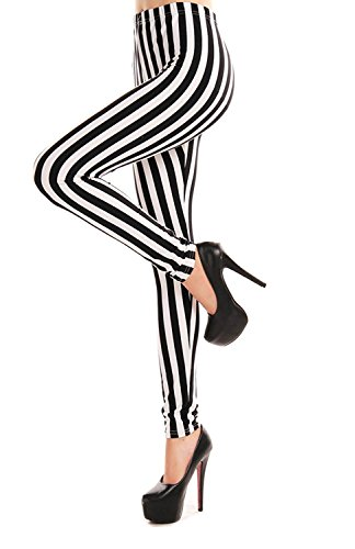 (Verabella Women's Black & White Striped Ankle Length Stretchy Legging)