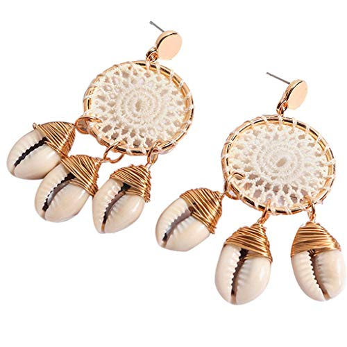 Dangle Shell Earring Dream Catcher Conch Thread Boho Drop Earring Conch Pendant Ear Hook Women Beach Vacation (beige)