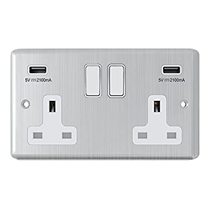 Masterplug 13 A 2 Gang Polished Chrome Switched Socket with 2  USBCharging  Port DIY Materials