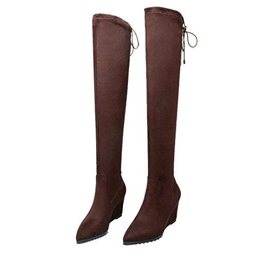 AIYOUMEI Damen Stretch Keilabsatz Overknee Stiefel mit Schnürsenkel Langschaft Keilstiefel Schuhe Braun