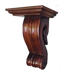 CinMin 10 Inch Handcarved Corbel Wood Wall Bracket/Floating Shelf (Bordeaux)