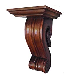 CinMin 10 Inch Handcarved Corbel Wood Wall Bracket/Floating Shelf (Bordeaux)