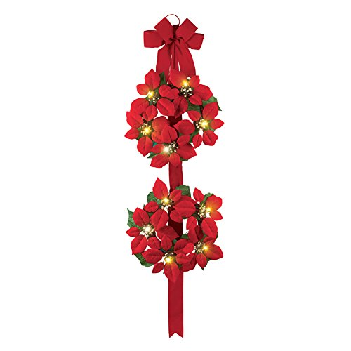 Double Poinsettia - Collections Etc Lighted Poinsettia Double Wreath