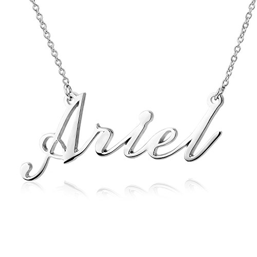 Custom Silver Charms - LONAGO Custom Name Necklace Carrie Style Personalized Nameplate 925 Sterling Silver Necklace