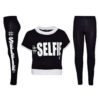 Amazon.com: Girls Top Kids #Selfie Print Designer Crop Top ...