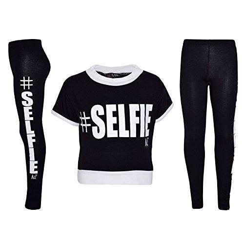 Girls Top Kids #Selfie Print Designer T Shirt & Fashion Legging Set 7-13 Years
