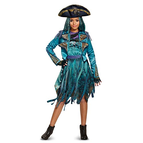 Treasure Hunters Costume (Disney Uma Deluxe Descendants 2 Costume, Teal, Medium (7-8))