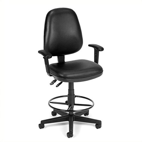 """Ofm Anti-Bacterial Vinyl Seating - Stool With Arms - 23-27"""", 27-31"""" Seat Height - Black - Black"""