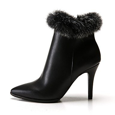 Microfiber Pu EU38 Winter Feather Fashion Stiletto Spring CN38 5 UK5 Synthetic Boots Leather Boots Shoes 5 US7 Boots Ankle Booties RTRY Heel Pointed Women'S Toe 01FwqIxt
