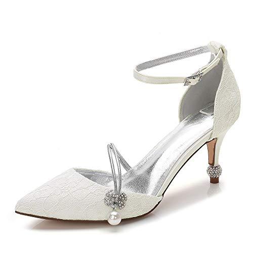 Zxstz Shoes a Wedding Ankle Basic Avorio spillo Pump donna da Scarpe Tacco Cone Strap Heel Tacco a Satin spillo gHqgCr