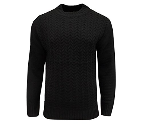 Soul Star Men's Tugger Turtle Neck Cable Knit Jumper Black Small