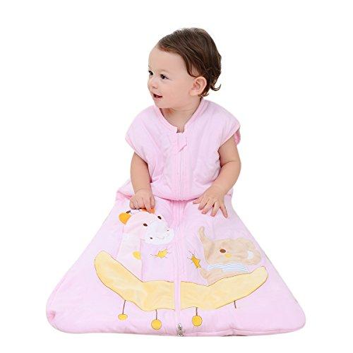 Baby Sleep Nest Wearable Blanket Sleep Sack 100% Cotton Sleeping Bag 2.5 Tog Elephant for Girl & boy (Pink, 90cm(12-24month))