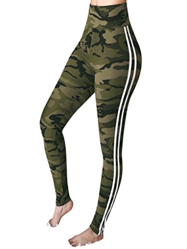 Snowfoller Womens Workout Camouflage Trousers Fashion Side Striped Sports Fitness Leggings Casual Yoga Pants For Gym Club (M, Camouflage) ()