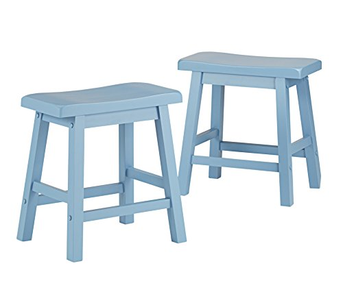 Set of 2 Blue Country Style Saddle Back Solid Wood Stool - Chair Height - Includes ModHaus Living (TM) Pen (Shabby Chic Dining Sets)