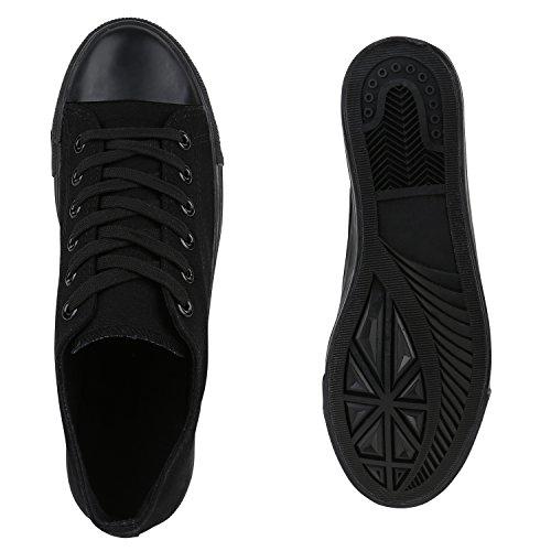 Schwarz Unisex Low Herren Übergrößen Sneaker Damen Stiefelparadies Black Flandell Uwq0aw