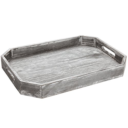 MyGift Country Rustic Wood Serving Tray with Cutout Handles and Angled Edges by MyGift (Image #6)