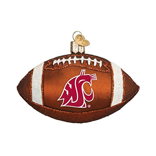 Old World Christmas Ornaments: Washington State University Football Glass Blown Ornaments for Christmas Tree