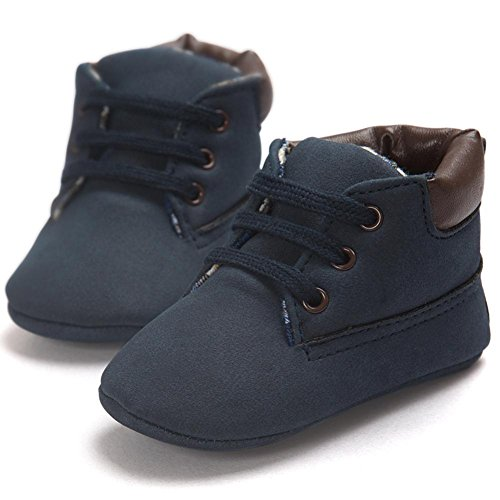 LNGRY Baby Toddler Shoes Soft Sole Leather Shoes Infant Boy Girl Anti-Slip Shoes (0-6 Months, Dark Blue) Review