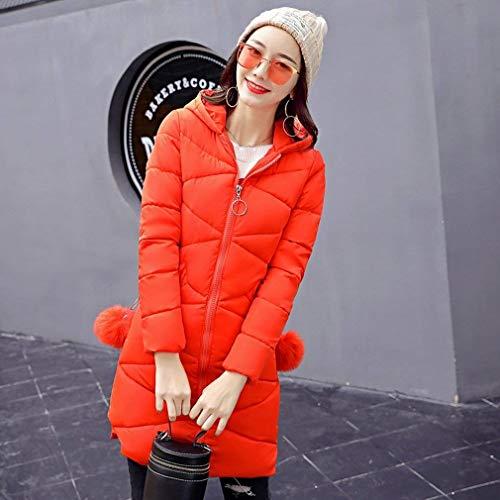 Battercake Chaqueta Casuales Largos Slim Moda Manga Encapuchado Orangerot Fit Caliente Hipster Mujeres Mujer Invierno Abrigos Larga Acolchada Parkas Unicolor Espesar rznxwRSrq