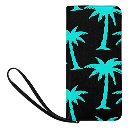 (InterestPrint Women's Tropical Coconut Palm Trees Summerrain Forest Credit Card Wallet Clutch Purse, Huge Storage Capacity)
