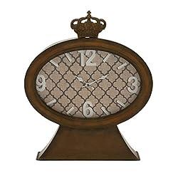 Plutus Brands Vintage Themed Metal Wood Table Clock